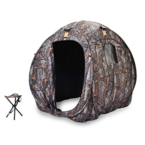 Rukket Hunting Blind | Ground Blind Stand for Deer, Turkey, Duck Hunting (Hunting Blind + Stool)