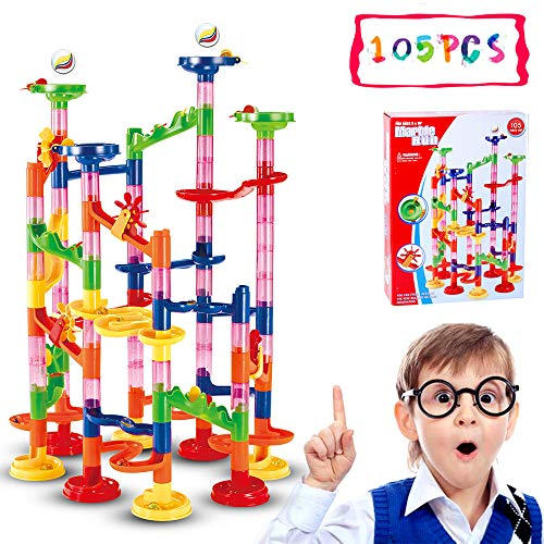 Marble Run Set,105 PCS Marble Race Track Toy for Kids,Construction Building Blocks Stem Toys Game for 4-9 Year Old Kids,(Marble Maze 75 Complete Pieces+30 PCS Glass Marbles + Installation Manual)