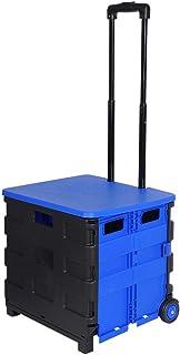 HENGMEI Einkaufstrolley Einkaufsroller Klappbar Einkaufswagen Teleskopgriff bis 35kg Transportwagen Shopping Klappbox Rollwagen 42x40.5x38cm,Schwarz