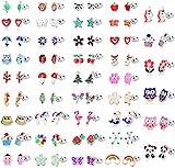 LOLIAS 42 Paia Acciaio Inossidabile Ragazze Bambini Orecchini Donna Assortiti Animali Orecchini Fiore Frutta Orecchini Set Regali Belle Ragazze Bambini Piccolo Orecchini Ipoallergenici