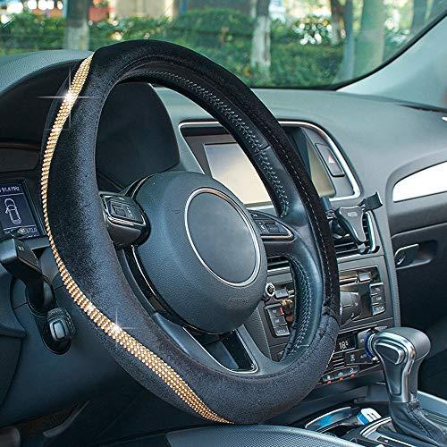 ATMOMO Velvet Car Steering Wheel Cover Anti-Slip Steering Wheel Protector with Bling Crystal Diamond Strip Fit 15 Inch (Gold)