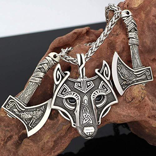 Presentes para homens, colar vikings, mitologia nórdica, cabeça de lobo de Fenrir e Runa de Odin, pingente de machado duplo, colar de liga amuleto pagão antigo