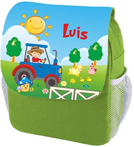 Mein Zwergenland Kindergartenrucksack Happy Knirps Next Print mit Name Traktor, 6L, Grün