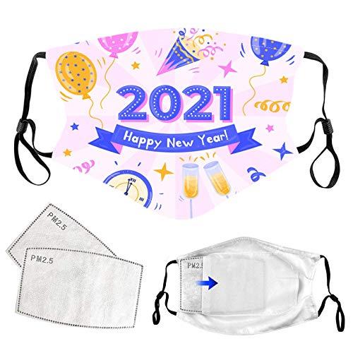 Pañuelos infantiles lavables para el año nuevo 2021 impresos, algodón cómodo cara M cara bandanas al aire libre cuerda elástica bicicleta motocicleta deporte (1 bufanda + 2 filtro)