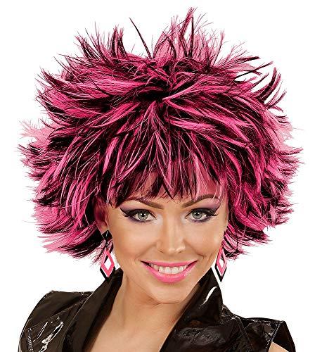 shoperama Damen Stufen Kurzhaar-Perücke Steamy Schwarz mit farbigen Strähnen Punker Rockstar stufig Kunsthaar, Farbe:Schwarz-Pink