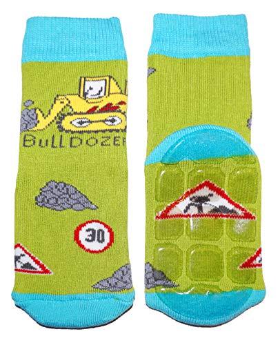 Weri Spezials ABS-Socke Kinder Antirutsch, Bulldozer Motiv in grün Gr.23-26 (3-4 Jahre)