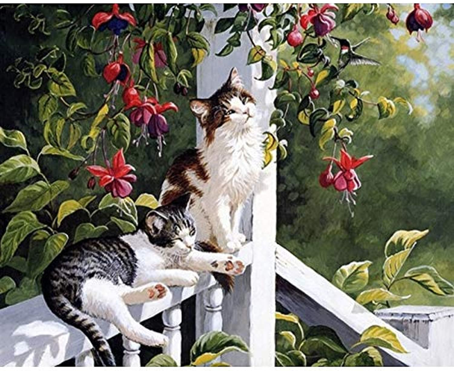 Tuwba Paint by Numbers Adult Kit Cats Animal Beginner Acrylic On Canvas,Framed 40X50Cm