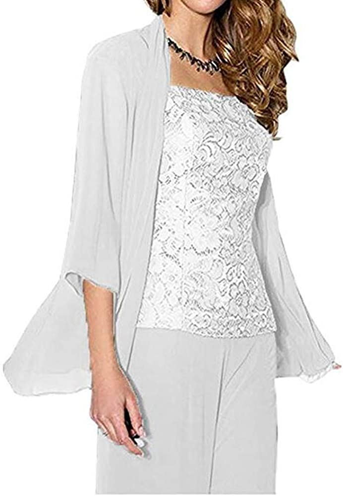 Women's 3 PC Chiffon Mother of The Bride Pants Suit with Long Sleeves Appliques Lace Pleat Jacket for Weddinng