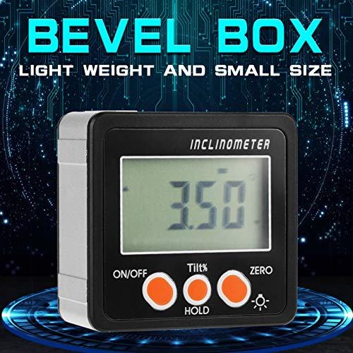 Caja de nivel de transportador digital Caja biselada Precisión 0.1° Portátil Conveniente con 1 destornillador para medir(negro)