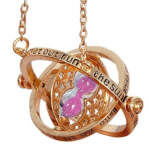 Bauqoo Collar Giratempo Hermione en estuche negro Inspirado Saga Harry Potter Gadget Accesorios de mujer hombre niña colgante color oro reloj arena rosa idea regalo niña Magia Fantasy Cosplay