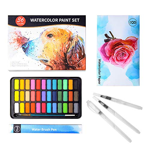 Hitong Watercolor Paint Set, 36 Premium Colors in Gift Box with Bonus Watercolor Paper Pad and Water Brushes, Perfect for Kids, Adults, Beginners, Artists Painting, Sketching, and Illustrating