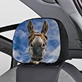 Removable Headrest Seat Covers Smiling Farm Donkeys Mammals Seat Covers Headrest Set of 2 Universal Fit for Cars Vans Trucks Headrest Cushion Fashion Auto Interior Accessories