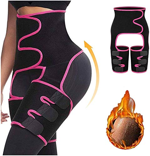 Waist Trainer for Women, 3 in 1 Waist Thigh Trimmer and Weight Loss Butt Lifter Shaper for Workout,Training Fitness Shapewear Body Shaper Belt for Weight Loss Thigh Trimmers Pink