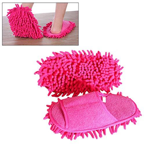 Kylewo 1 Paar Putzpantoffel mit reinigender Mikrofaser-Sohle, Putz-Hausschuhe Staub Mop Hausschuhe Bodenreinigung Slippers Shoe für Badezimmer Büro Küche