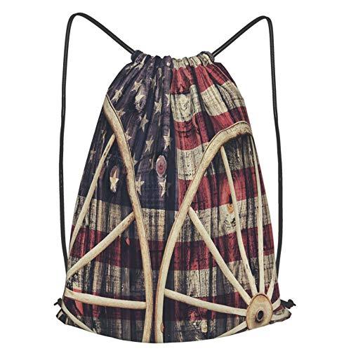 Olverz Bolsas de cordón con ruedas antiguas bandera americana resistente al agua bolsa de cuerda deportiva duradera bolsa de bolsa portátil para hombres mujeres niños gimnasio compras deporte yoga S
