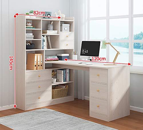 Mesa de Ordenador, Escritorio de Estudio con estanterías, Madera Sostenible Mesa De La Oficina Estudiantil,Simple Escritorio,Mesa De Oficina,Escritorio,Color (1) 120﹡82﹡145cm