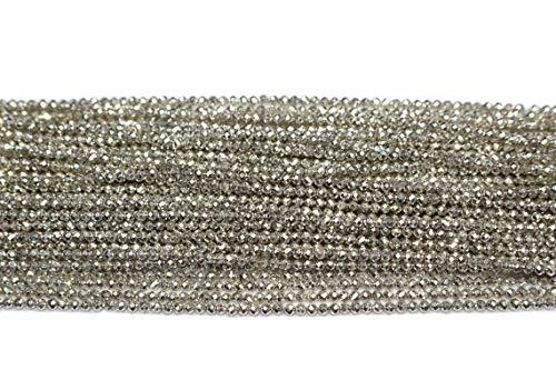 Shree_Narayani Cuentas sueltas de pirita de plata de calidad fina con micro facetas redondas de 2 a 2,5 mm de 33 cm para hacer joyas, manualidades, collares, pulseras, pendientes, 1 hebra