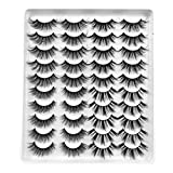 20 Pairs Mixed Styles False Eyelashes 3D Faux Mink Eyelashes Wispies Fluffy Natural Long Lashes Extension Beauty Makeup Tools Handmade Cruelty-free (GT52)