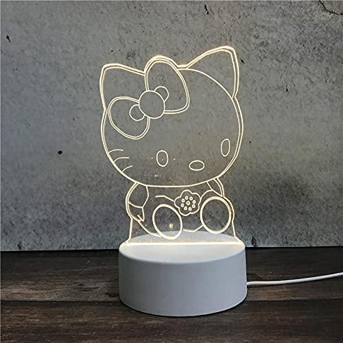 Luz Nocturna ,Lámpara De Ilusión Óptica Led 3D Con Placas Acrílicas De Patrones,Lámpara De Visualización Creativa Usb Regalo Para Niños,Gatito