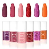 AwsmColor Messy in Love Gel Nail Polish Set, Valentine's Day Glitter Red and Pink Orange Pastel 6 Colors