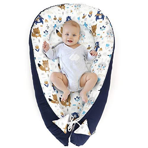 Babynest Kokon Neugeborene - Handmade Kuschelnest Baby Nestchen aus Baumwolle mit Oeko-Tex Zertifikat (Tiere mit Dunkelblau, 90 x 50 cm)