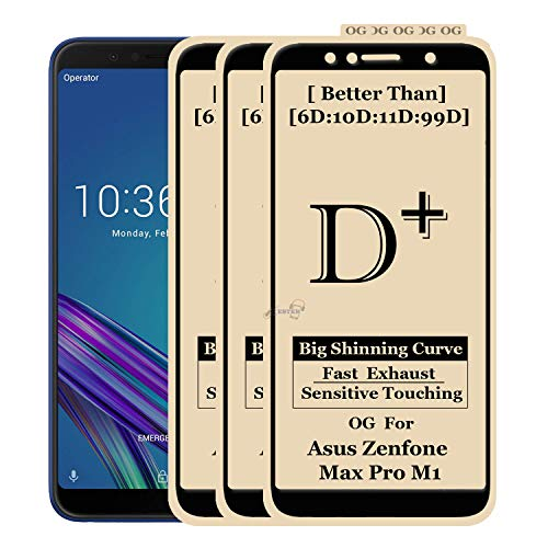 xester® [d-plus] screen protector campatible with asus zenfone max pro m1 [3-pack], anti-fingerprint tempered glass edge to edge full screen coverage (9h hardness, 6x stronger, installation frame, bubble free) [edge to edge]