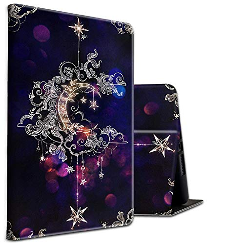 Fire HD 10 Tablet Case 2019/2017,Shockproof Slim PU Leather Stand Cover with Auto Sleep/Wake for All-New Amazon Kindle Fire 10, Moon Star Galaxy Floral