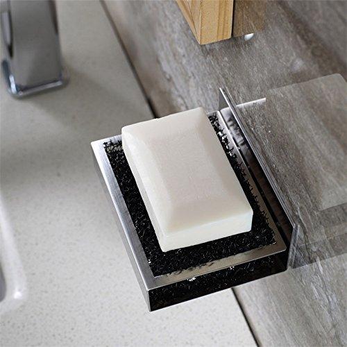 weare Home Modern estilo cuadrada jabón plana–Jabonera de acero inoxidable 3043m Pegamento a la pared montaje sin agujeros inoxidable agarre Bar Baño Accesorios Baño decorativo para cocina