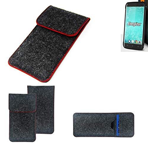 K-S-Trade® Handy Schutz Hülle Für Energizer H550S Schutzhülle Handyhülle Filztasche Pouch Tasche Case Sleeve Filzhülle Dunkelgrau Roter Rand