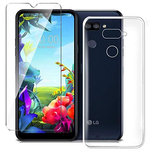 HYMY Hülle für LG K40S Smartphone + 1 x Schutzfolie Panzerglas - Transparent Schutzhülle TPU Handytasche Tasche Durchsichtig Klar Silikon Case für LG K40S (6.1