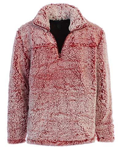 Gioberti Men and Women Super Soft Sherpa 1/4 Zip Pullover Sweater, Snowy Garnet, Size Large