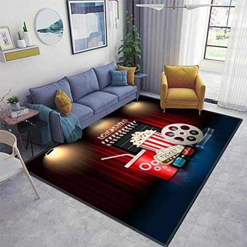 Home Area Runner Rug Pad Cinema Movie Theater Object on Curtain ;Sign Thickened Non Slip Mats Doormat Entry Rug Floor Carpet for Living Room Indoor Outdoor Throw Rugs