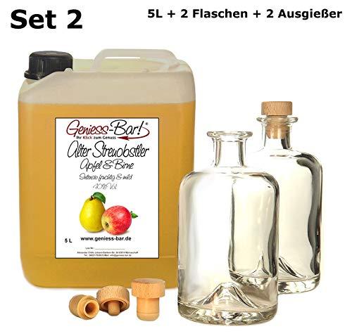 Alter Streuobstler 5 L & 2 Flaschen & 2 Ausgießer Milder Apfel & Birne 40% Vol.