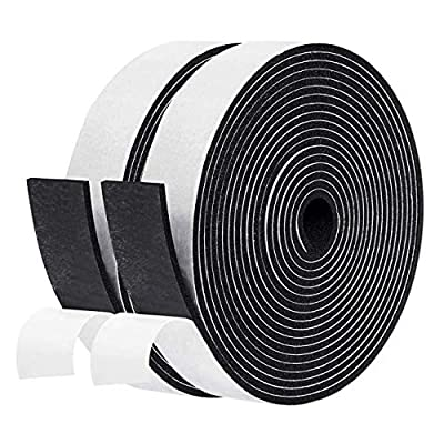 Weather Stripping, 2 Inch Wide X 3/8 Inch Thick X 6.5 Feet Long Adhesive Foam Tape Door Weather Stripping Window Seal Strips Foam Insulation Tape Soundproof Rubber Strips