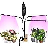 Lampada LED per piante, 30 W, spettro completo, per piante da interni, 3 teste, lampada per la crescita con timer, 3 modalità, 6 livelli di luminosità, lampada per interni