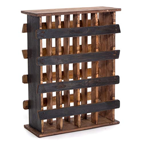 Design Delights Étagère à vin en bois recyclé massif avec étagère, armoire à vin, porte-bouteilles 78 x 60 x 25 cm Noir naturel