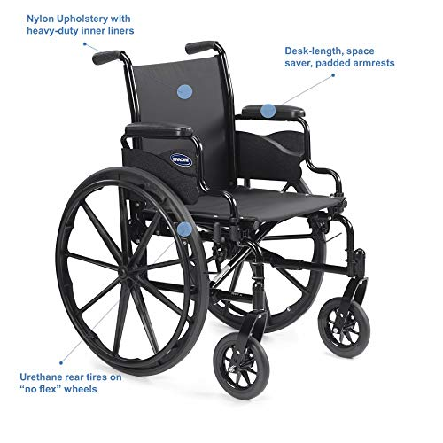 """Invacare - 9SL_PTO_34745 9000 SL Durable Light Weight Wheelchair, Desk-Length Arms, 16"""" Wide Seat, Flat Black, 9SL_34745"""