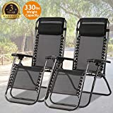 Zero Gravity Chair Patio Chair Lounge Chair Chaise Recliner 2 Pack Outdoor Folding Adjustable Heavy Duty Zero Gravity Chair with Pillows for Patio, Pool, Beach, Lawn, Deck,Yard - Black