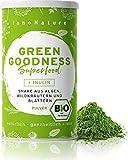 """Bio """"Green Goodness"""" Superfood Shake mit 12 Superfoods (Weizengras + Gerstengras + Moringa + Chlorella + Spirulina + Kelp etc.) 300g Premium grünes Smoothie Pulver/Shake. Vegan +..."""