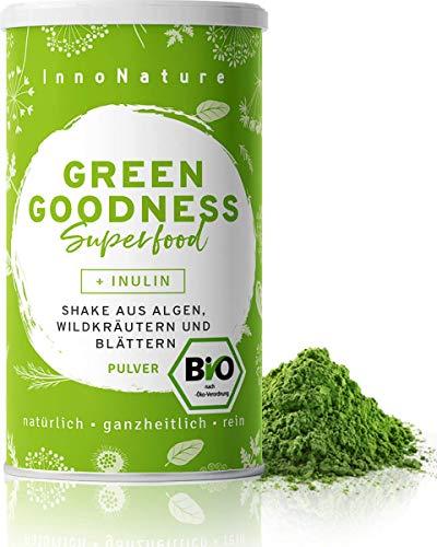 """Bio """"Green Goodness"""" Superfood Shake mit 12 Superfoods (Weizengras + Gerstengras + Moringa + Chlorella + Spirulina + Kelp etc.) 300g Premium grünes Smoothie Pulver/Shake. Vegan + hergestellt in DE."""