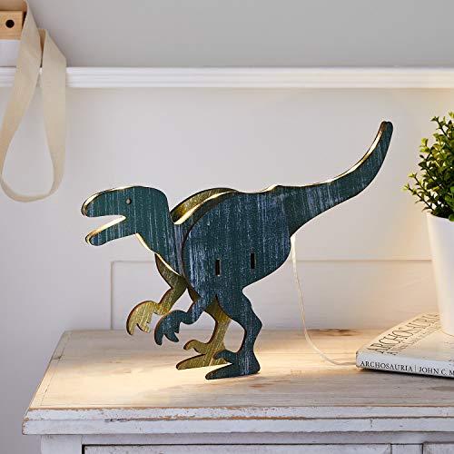 Lights4fun Figura Luminosa de T-Rex 3D con 27 LED Blancos Cálidos a Pilas para Interiores