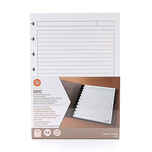 Refill-Papier liniert f.arc Spiralbuch weiß A4 100g 50 Blatt