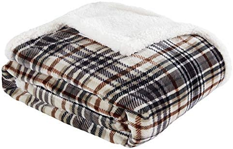 Touchat Sherpa Plaid Throw Blanket Fuzzy Fluffy Cozy Soft Blanket Fleece Flannel Plush Twin product image
