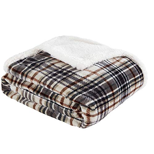 Touchat Sherpa Plaid Throw Blanket, Fuzzy Fluffy Cozy Soft Blanket, Fleece Flannel Plush Twin Size Microfiber Blanket for Couch Bed Sofa (60' X 70',...