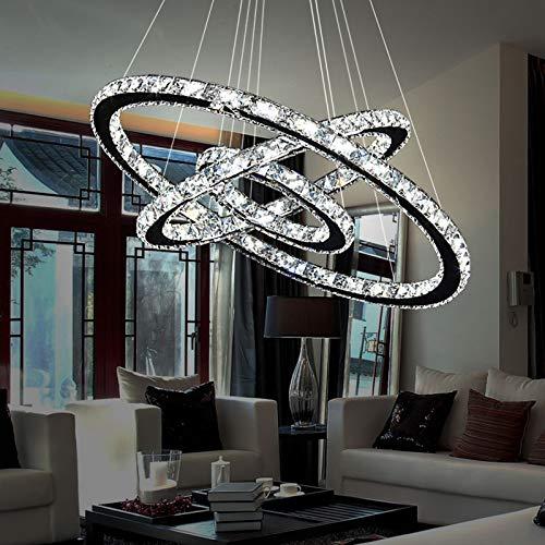 Lámpara colgante de cristal, 72 W, lámpara de techo regulable, con mando a distancia, 60 cm, diseño elegante