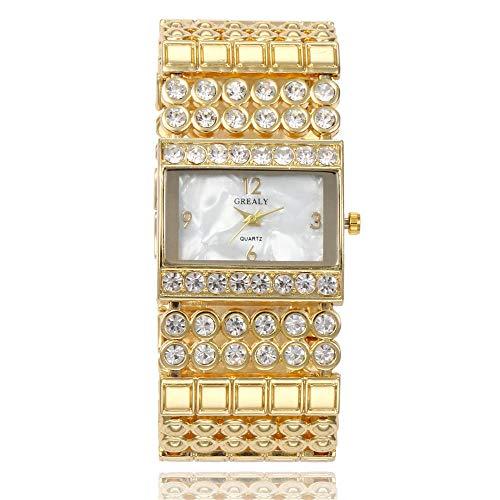 Aleación Europea y Americana de Banda Ancha Cuadrada Reloj de Pulsera para Mujer Temperamento de Gama Alta Punto atmosférico Diamante británico Hermoso Reloj Mujer