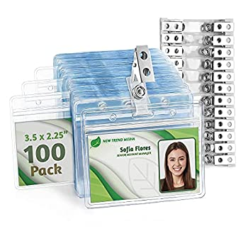 EcoEarth Horizontal PVC ID Badge Holder with Metal Clips & Vinyl Straps  Sealable Fits 3.5x2.25 inch Inserts   Clear 100-Pack  Waterproof ID Holder Bulk ID Card Holder Name Badge Holder Name Tag