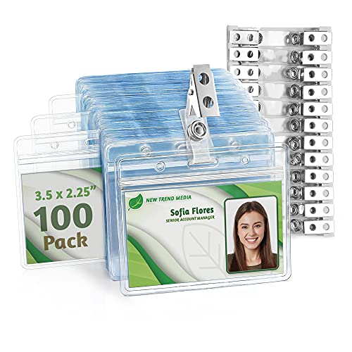 EcoEarth Horizontal PVC ID Badge Holder with Metal Clips & Vinyl Straps (Sealable Fits 3.5x2.25 inch Inserts) (Clear 100-Pack), Waterproof ID Holder Bulk, ID Card Holder, Name Badge Holder, Name Tag