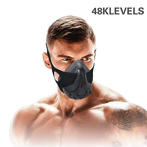 Trainingsmaske für Sport, lebenslange Laufzeit, 48 Widerstandsstufen, Atemwiderstand, Trainingsmaske für Fitness, hohe Höhe, Laufen, Widerstand, Atmung, Sauerstoff