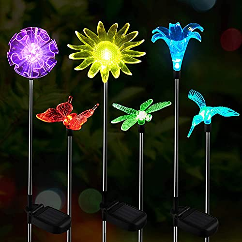 DOOK LED Luces Solar Exterior Mariposa Impermeables Luz, 6 Piezas Jardín Luces de Juego Solar Cambio de Color Fibra Óptica Mariposas al Aire Libre Decoraciones de Fiesta para Césped Patio Camino